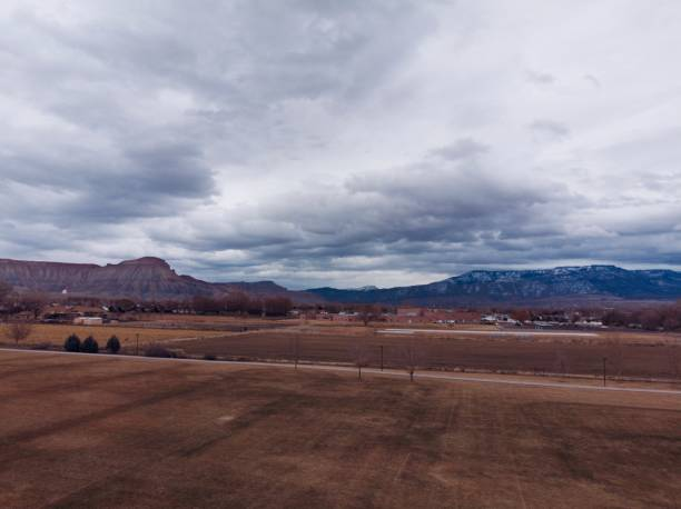Mount Garfield and Grand Mesa on an Overcast Day in Colorado stock photo