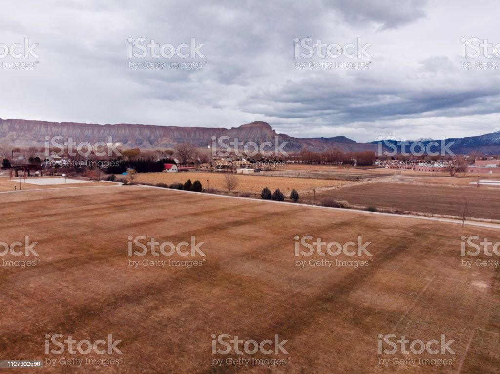 Mount Garfield Sits Beneath Ominous Clouds stock photo