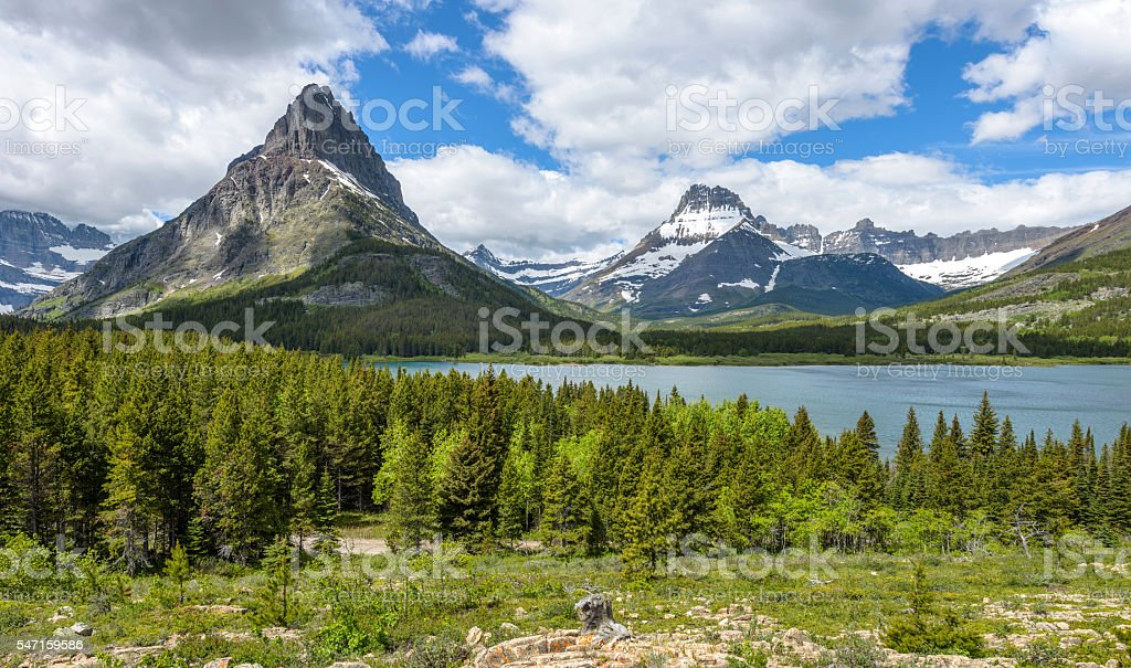 Mount Grinnell and Mount Wilbur stock photo