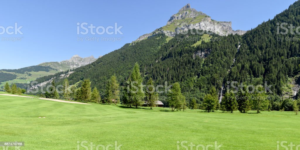 Mount Hanen and golf course at Engelberg on Switzerland stock photo
