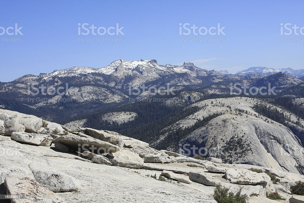 Mount Hoffman from Half Dome in Yosemite stock photo