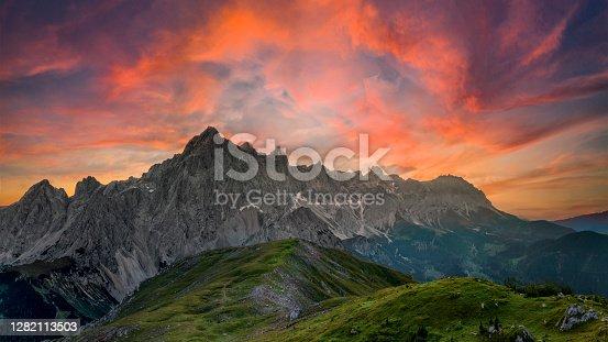 istock Mount Hoher Dachstein Sunrise, Styria, upper Austria 1282113503