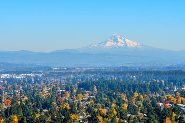 Mount Hood from Rocky Butte, Oregon Mount Hood from Rocky Butte, Oregon mt hood stock pictures, royalty-free photos & images