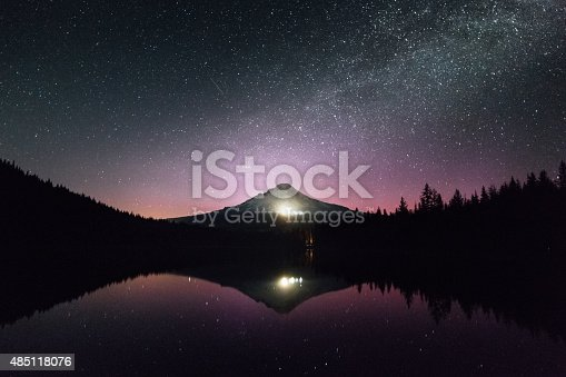 the starry sky above Mount Hood in Oregon.