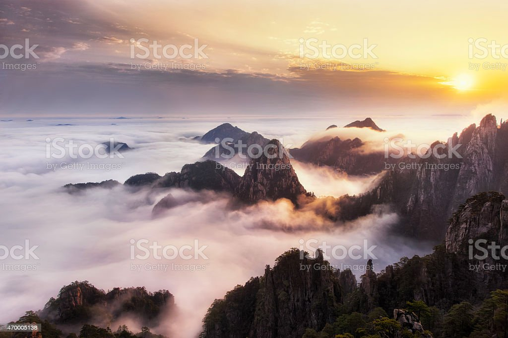 Mount Huangshan of China stock photo