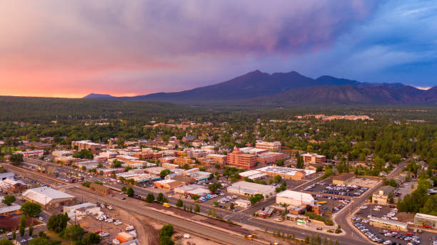 Mount Humphreys at sunset overlooks the area around Flagstaff Arizona stock photo