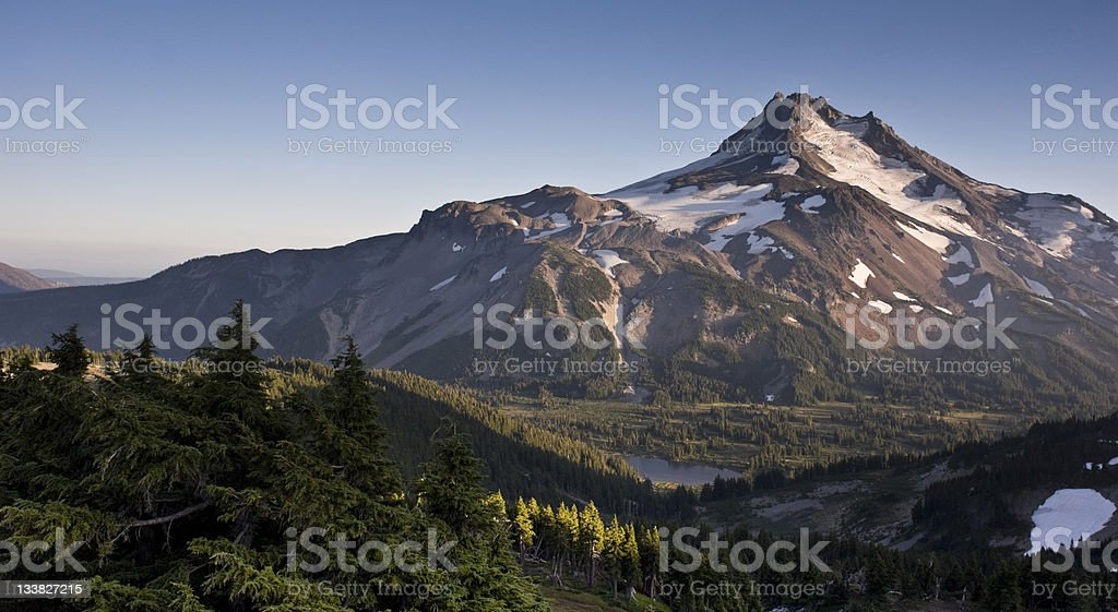 Mount Jefferson Park At Sunset from Adjacent Mountain Butte stock photo