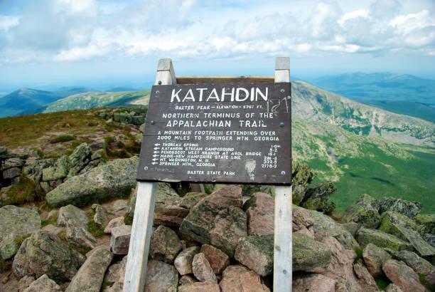 Mount Katahdin, Appalachian Trail Sign stock photo