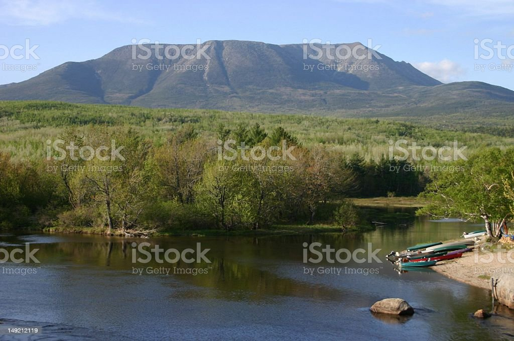 Mount Katahdin at the West Branch stock photo