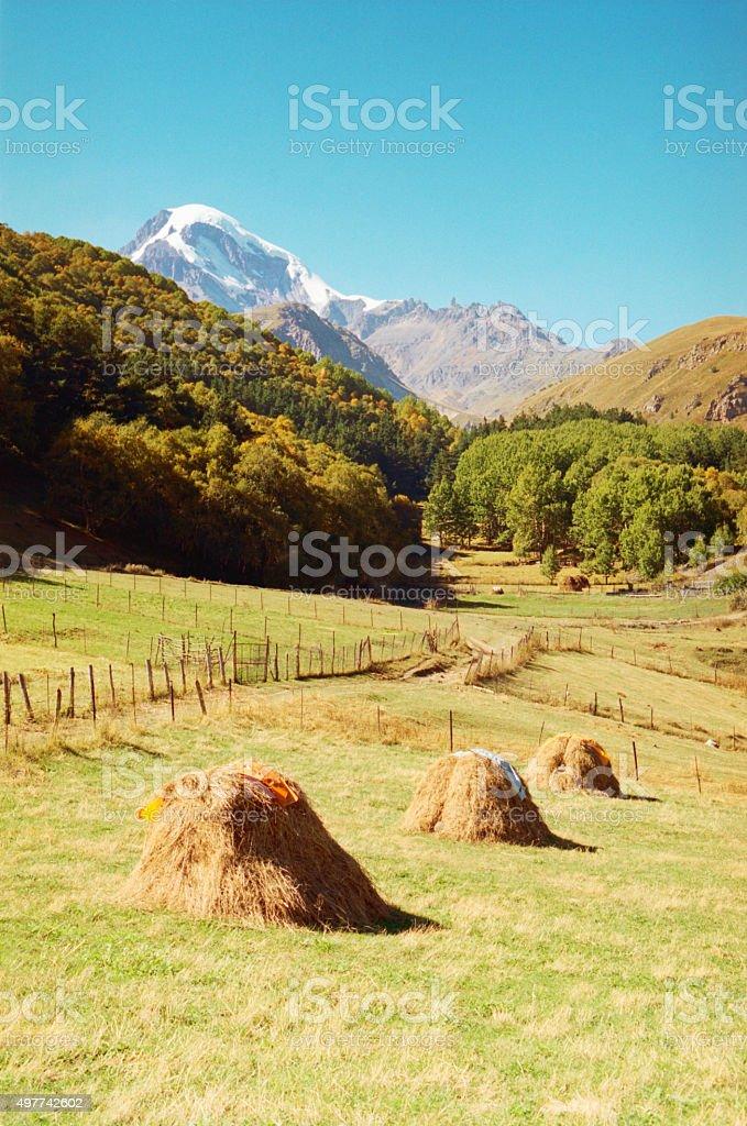 Mount Kazbek in the Caucasus Mountains. stock photo