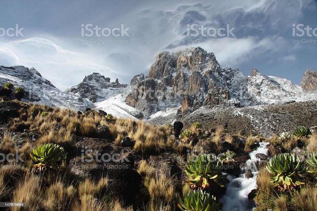 Mount Kenya at Sunrise stock photo