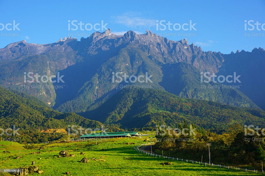 Mount Kinabalu during blue sky stock photo