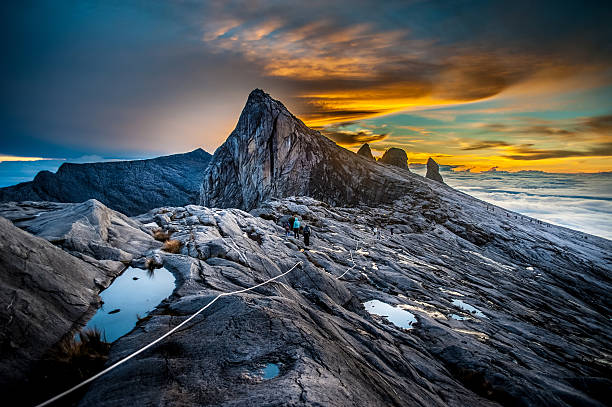 Mount Kinabalu Mount Kinabalu, near Low's Peak, about 3900m. This is sunrise. island of borneo stock pictures, royalty-free photos & images
