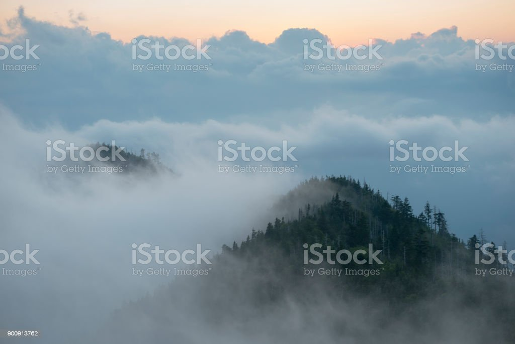 Mount LeConte sunset Great Smoky Mountains National Park stock photo