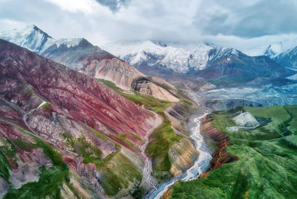 Mount Lenin seen from Basecamp in Kyrgyzstan taken in August 2018 stock photo