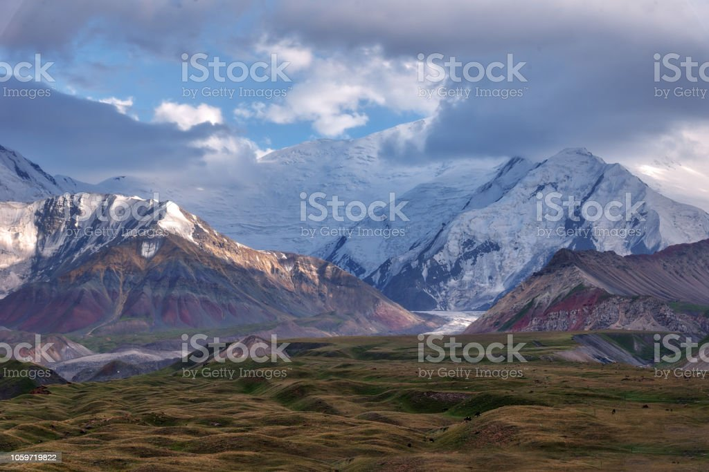 Mount Lenin seen from Basecamp in Kyrgyzstan taken in August 2018 stock photo