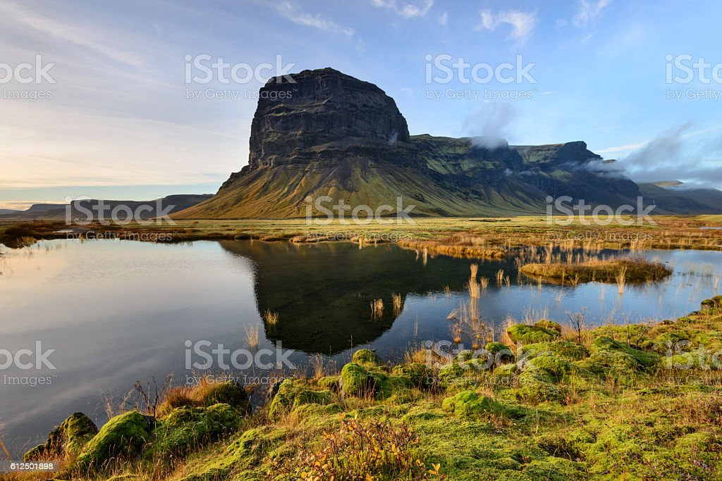 Mount Lomagnupur in Iceland at sunset stock photo
