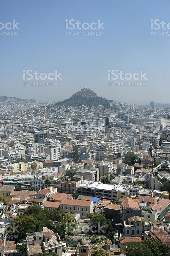 Mount Lycabettus from the Acropolis royalty-free stock photo