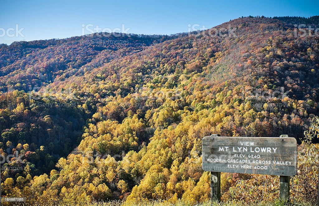 Mount Lyn Lowry Overlook, Blue Ridge Parkway, North Carolina, USA royalty-free stock photo