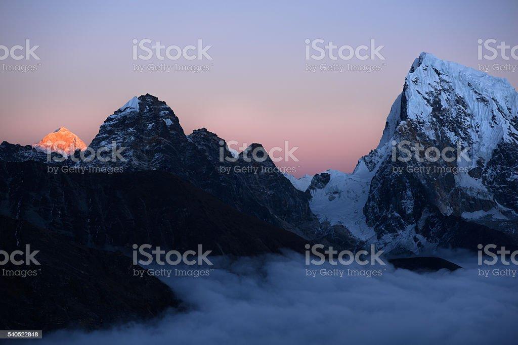Mount Makalu at dusk stock photo