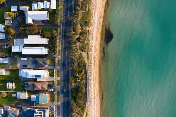 Mount Martha Bathing Huts Aerial Aerial photograph of the Mount Martha bathing huts. beach hut stock pictures, royalty-free photos & images