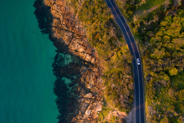Mount Martha Coastal Road Aerial Aerial photograph of the Mount Martha coastal drive located in the Mornington Peninsula. drone point of view stock pictures, royalty-free photos & images