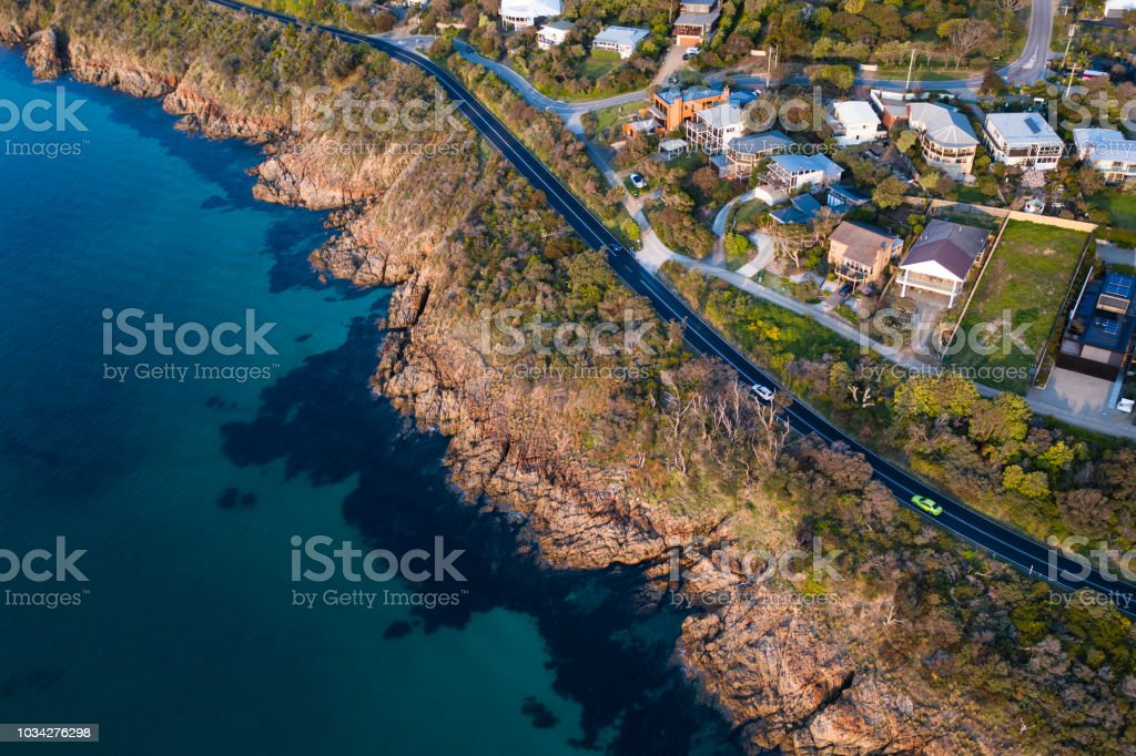Aerial photograph of the Mount Martha coastal drive located in the...