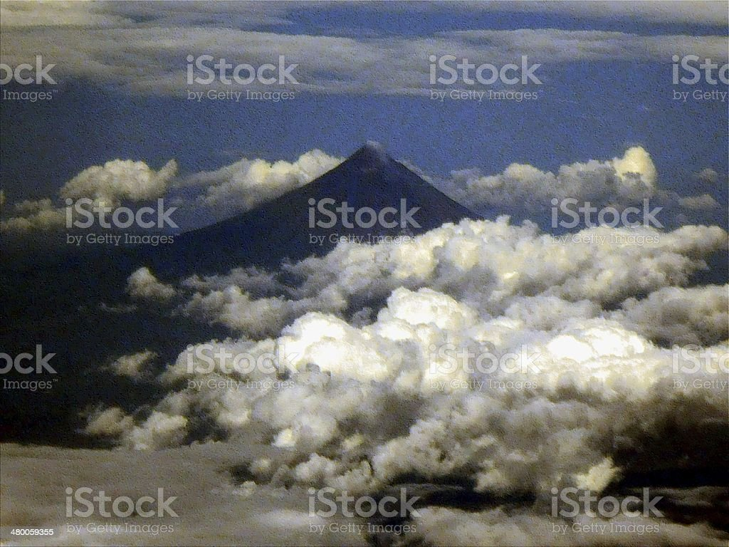 Mount Mayon, aerial view - Philippines stock photo