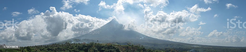 Mount Mayon Volcano Backlit by Bright Sun stock photo