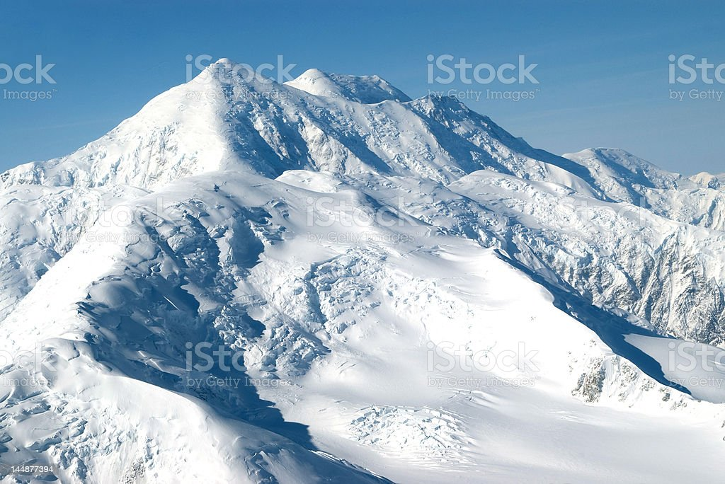 Mount McKinley Aerial on Clear Blue Day royalty-free stock photo