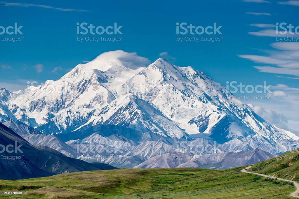 Mount McKinley (Denali) The highest mountain in North America. We are lucky to have a good weather to take pictures (the 30% club, lol). It is taken in Denali National Park and Preserve. Alaska - US State Stock Photo
