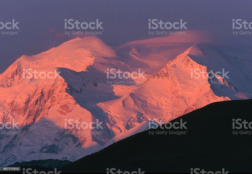 Mount McKinley sunrise alpenglow stock photo