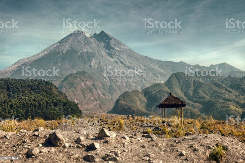Mount Merapi in the morning stock photo