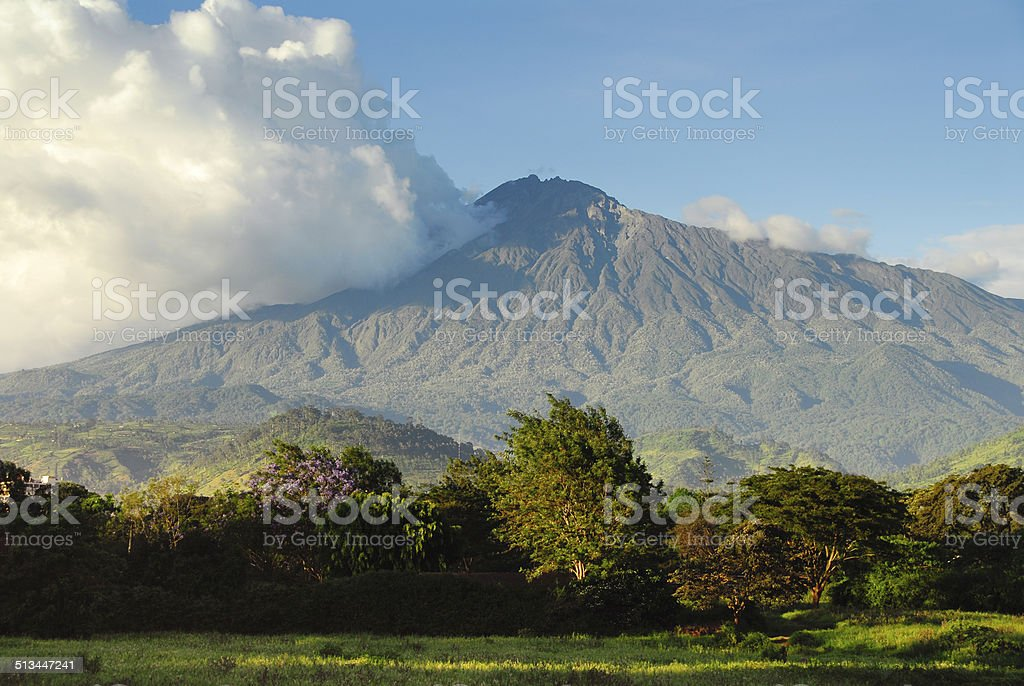 Mount Meru , Arusha National Park, Tanzania stock photo