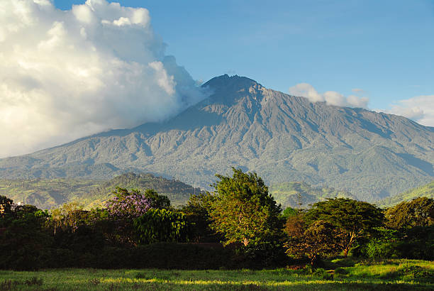 Mount Meru , Arusha National Park, Tanzania stock photo