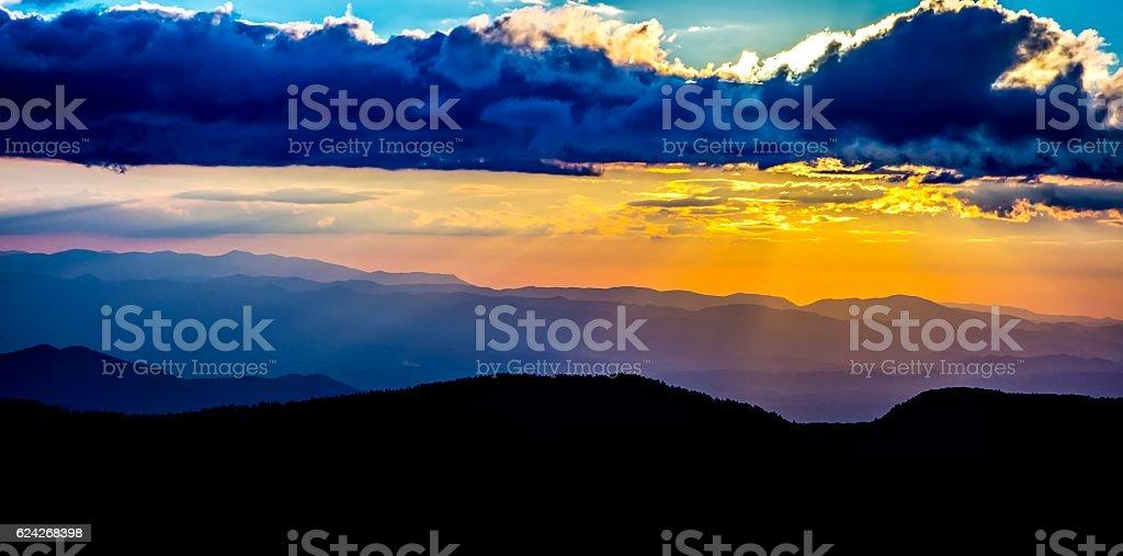 mount mimtchell sunset landscape in summer stock photo