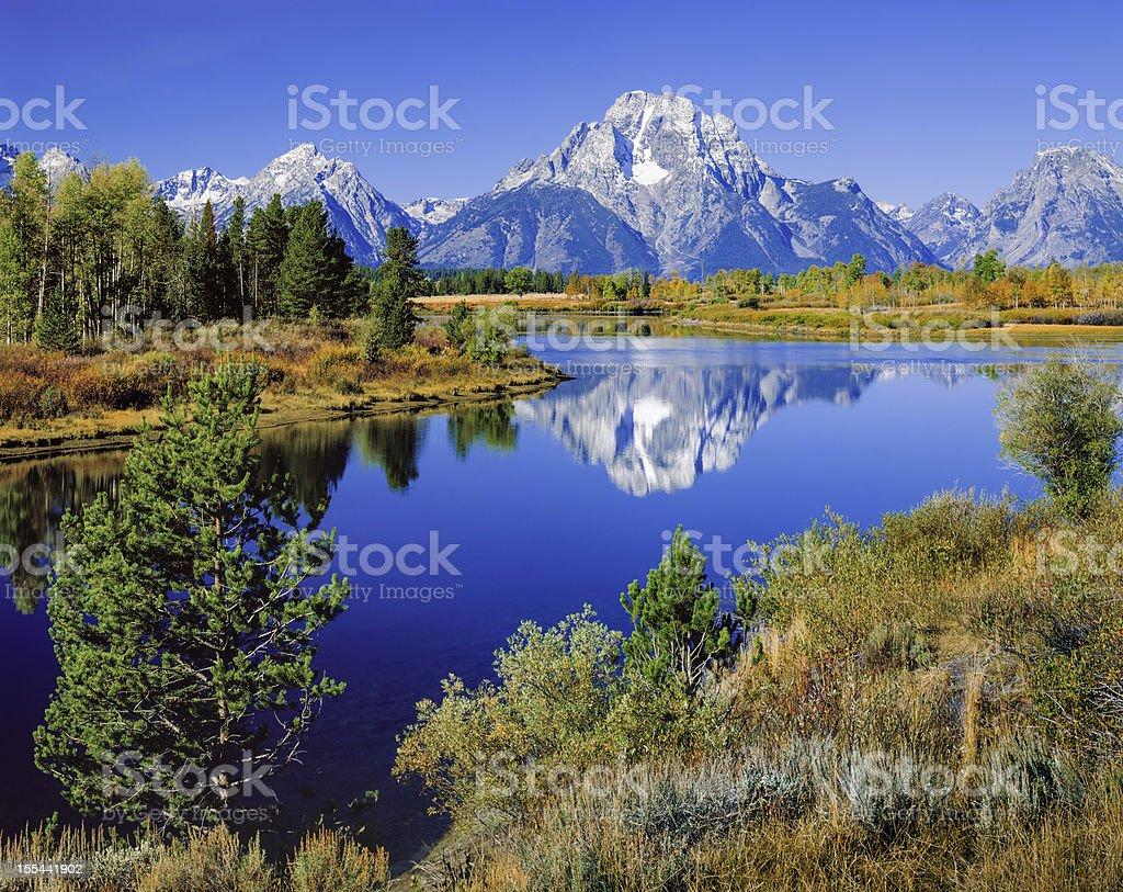 Mount Moran, Snake River, Tetons, Oxbow Bend, early autumn royalty-free stock photo
