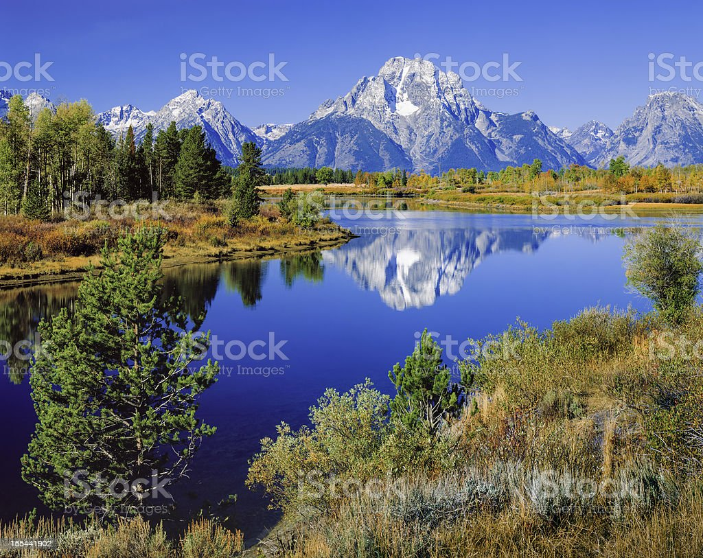 Mount Moran, Snake River, Tetons, Oxbow Bend, early autumn stock photo