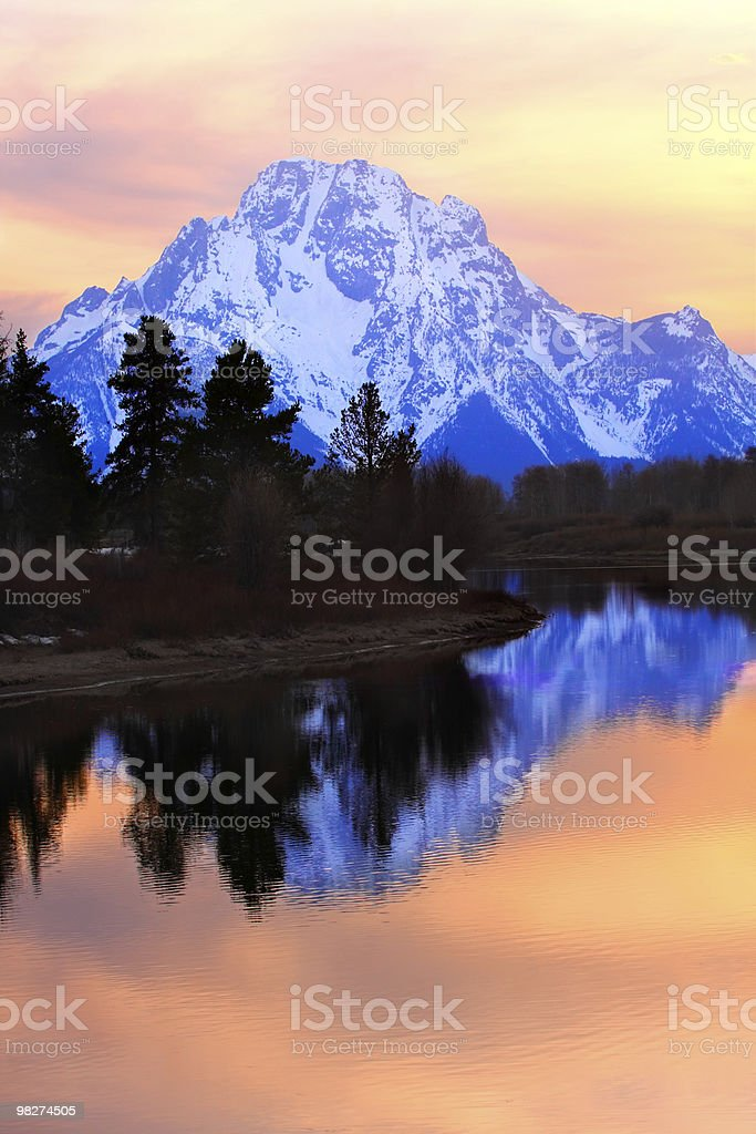 Mount Moran Sunset royalty-free stock photo