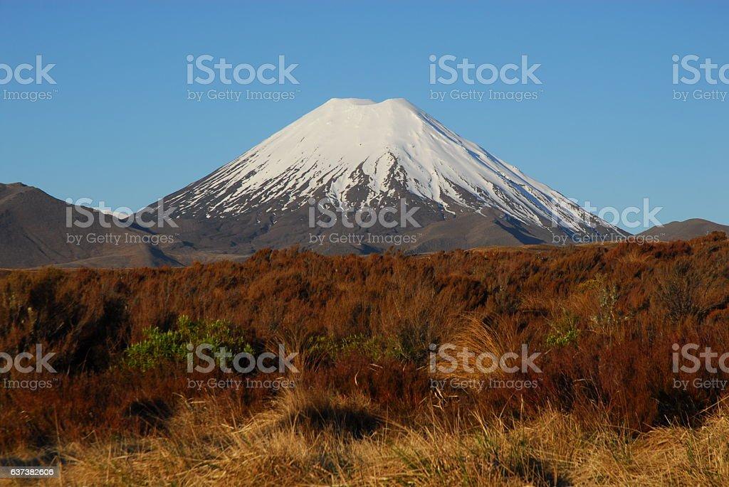 Mount Ngauruhoe in New Zealand stock photo