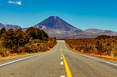 Looking at Mount Ngauruhoe. The active vulcano is based in the north isle of New Zealand at the Rangipo Desert.