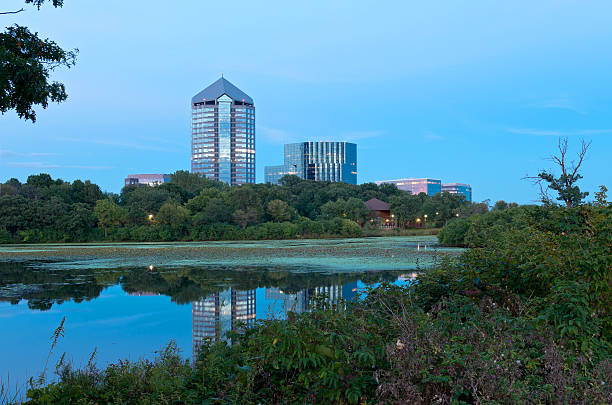 Mount Normandale Lake and Buildings stock photo