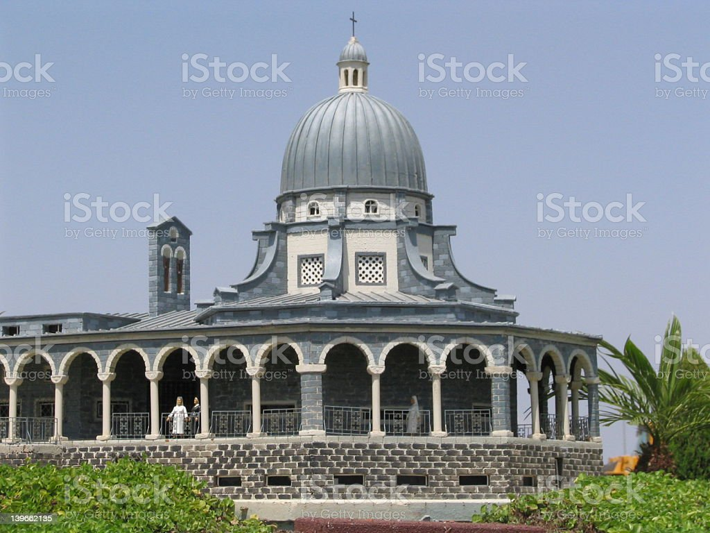 mount of beatitudes church stock photo