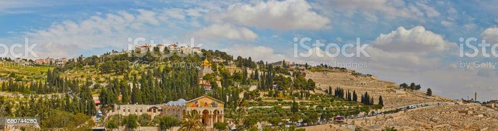 Mount of olives, Jerusalem, panorama stock photo