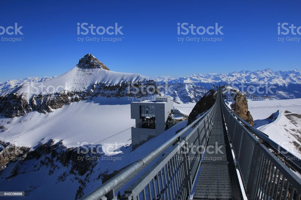 Mount Oldenhorn and suspension bridge stock photo