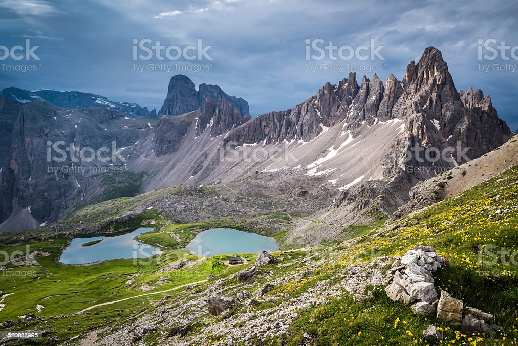 Mount Paterno and Piani Lake in the Dolomites stock photo