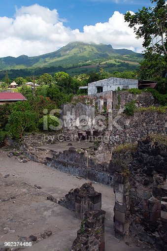 View of the ruins at the foot of Mount Pelée which erupted in 1902 and devastated the old capital of Saint-Pierre, Martinique.