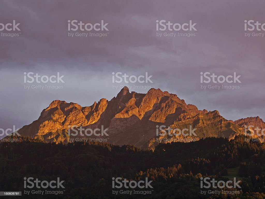 Mount Pilatus in red royalty-free stock photo