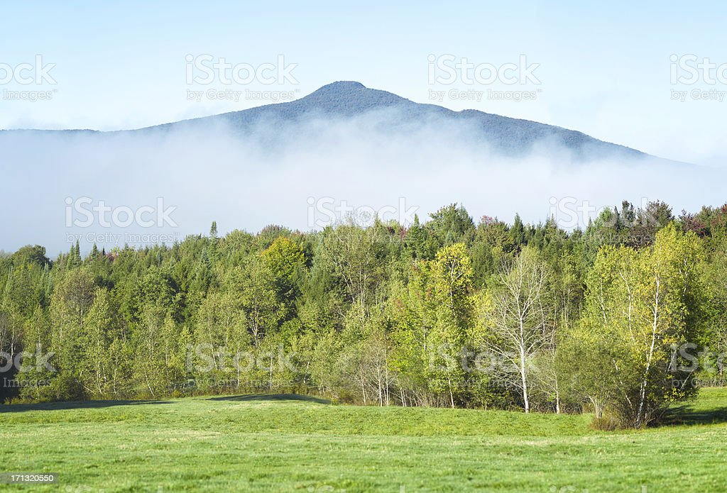 Mount Pinacle in the mist stock photo