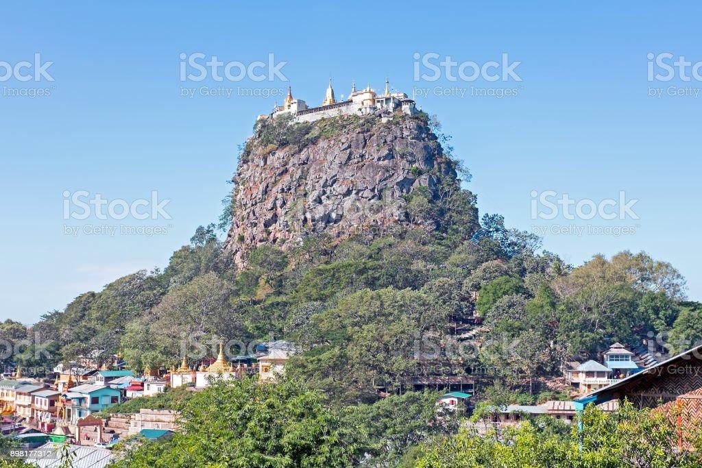 Mount Popa in Myanmar Asia stock photo